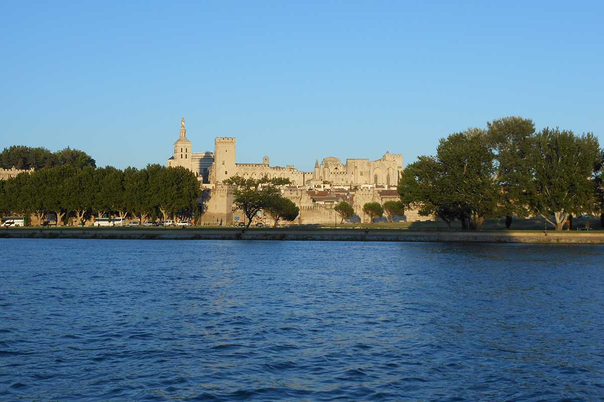 view of Avignon from Barthelasse Island © VF